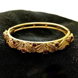 Vintage Gold & Ruby Bangle Bracelet